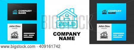 Blue Line Hanging Sign With Text Sold Icon Isolated On White Background. Sold Sticker. Sold Signboar