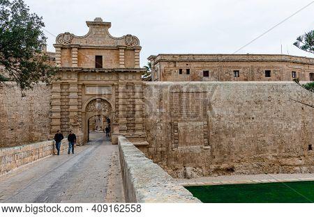 Mdina, Malta - February 21 2015: Mdina Gate, Aka The Main Gate Or The Vilhena Gate. It Is The Main G