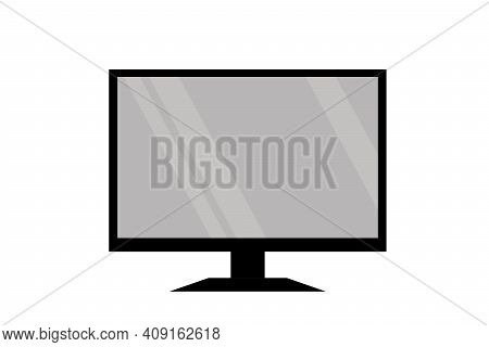 Icon Modern Tv Television, Monitor Computer, Slim Hdtv With Blank Screen Isolated On White Backgroun