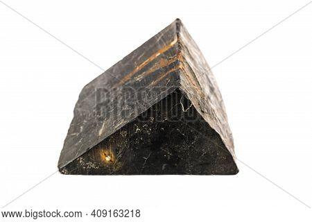 Shungite Stone With Pyrite Streaks Isolated On White Background