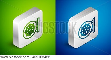Isometric Line Dharma Wheel Icon Isolated On Green And Blue Background. Buddhism Religion Sign. Dhar