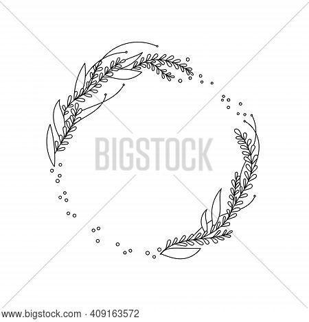 Line Drawn Wild Grass, Fern, Circle Wreath. Vector Vintage Botanical. Hand Drawn Ink Silhouette With