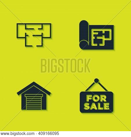 Set House Plan, Hanging Sign With For Sale, Garage And Icon. Vector