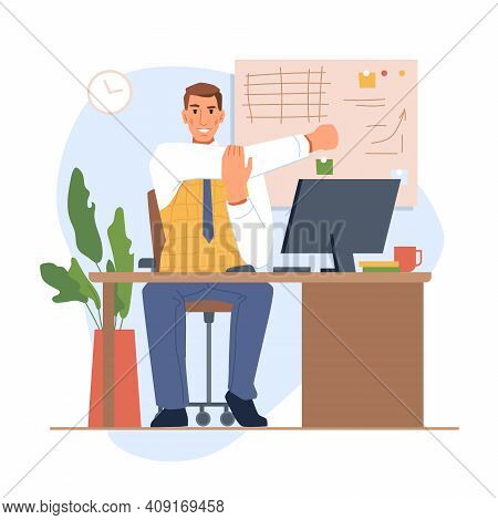Employee Or Boss Sitting By Table With Monitor And Stretching. Personage Reducing Muscle Soreness An