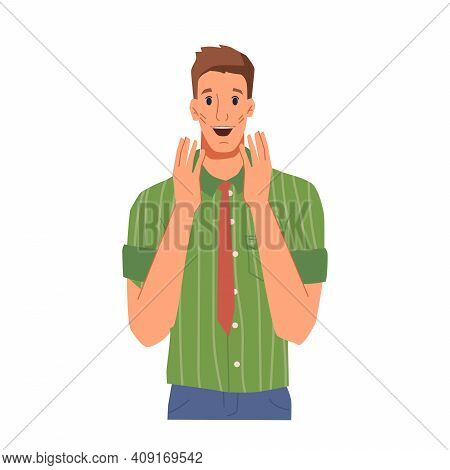 Excited Or Surprised Facial Expression Of Male Character. Man Opened Mouth From Surprise Or Joy. Ove