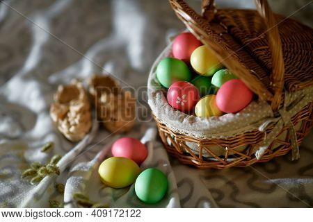 Happy Easter! Holiday Cake. Painted Eggs. The Most Joyful And Most Revered Holiday In The Orthodox W