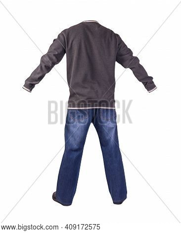 Blue Jeans,gray White Sweatshirt And Black Leather Shoes Isolated On White Background. Mens Casual C