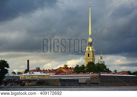 The Landmark Of St. Petersburg There Is A Gilded Spire Of The Bell Tower Of The Peter And Paul Cathe