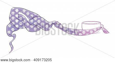 Winter Mood. Cups Of Hot Tea Tied With Shirts And Knot In Fabric With A Floral Pattern. Border Illus