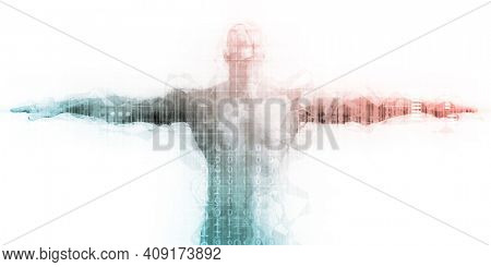 Tech Startup Technology Sector with Man Flying Success 3d Render