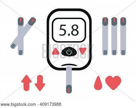 Electronic Glucometer Set For Self-determination Of Blood Glucose Levels. Flat Glucometer, Standard