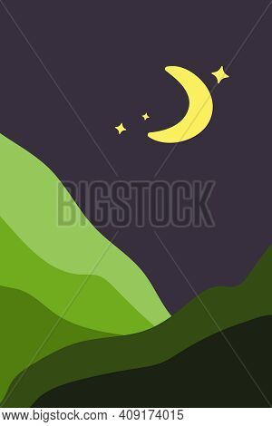 Landscape Night Dark Poster In Minimalist Style, With Green Fields, Mountains And Plains, With Moon