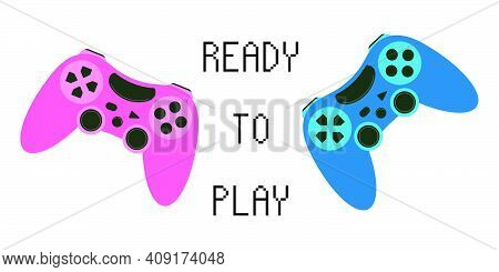 Two Joysticks - Pink And Blue. For A Computer Game - A Man And A Woman. Game Concept, Virtual Realit