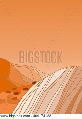 Mars Landscape Background With Alien Mountines And Stony Desert. Cosmic Design, Vector Template For