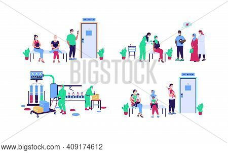 Hospital Patients And Workers Flat Color Vector Faceless Character Set. Vaccine Production. Disease