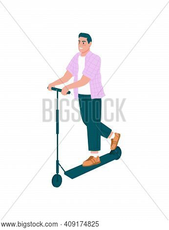 Smiling Man On E-scooter Flat Color Vector Detailed Character. Happy Guy Riding On Electric Vehicle.