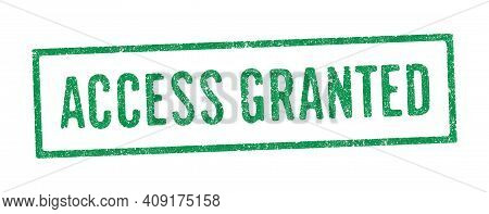 Vector Illustration Of The Words Access Granted In Green Ink Stamp