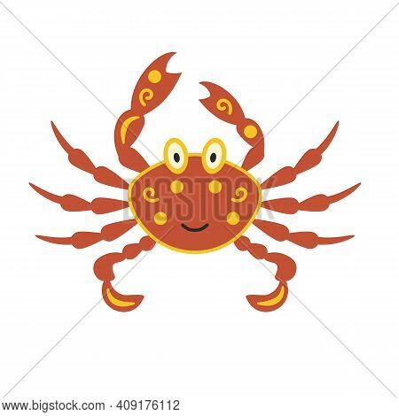 Crab Cartoon Stylized With Ticks And Yellow Spots. Hand-drawn Vector. Marine Mammals, A Family Of Cr