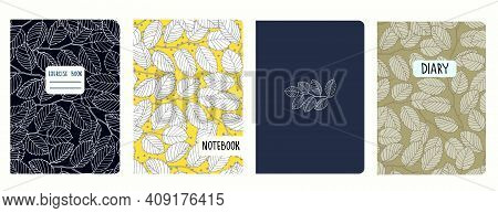 Set Of Cover Page Templates With Elm Tree Branches And Leaves. Based On Seamless Patterns. Headers I