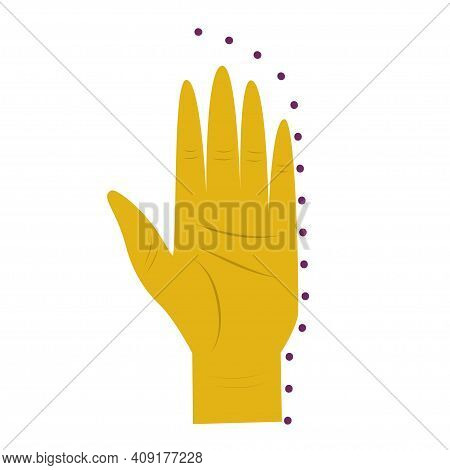 The Hand Is Isolated On A White Background. Palm For Palmistry And Divination. Vector Illustration.