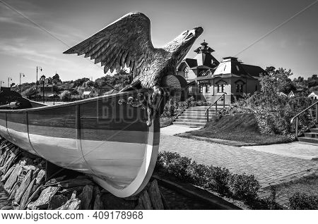 Eagle Figurehead In Front Of A River Port Station In The Town-island Of Sviyazhsk, Tatarstan. Black