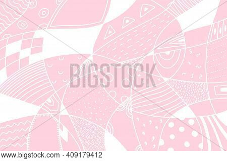 Abstract Ornamental Doodle Banner. White Stains, Dots, Line, Cell On Gentle Pink Background. Geometr