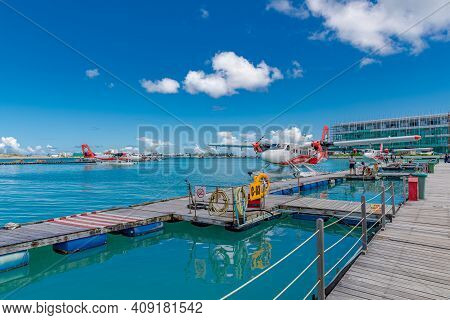 Male, Maldives - May 10, 2019: Tma - Trans Maldivian Airways Twin Otter Seaplanes At Male Airport (m