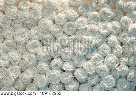 Beautiful White Handcraft Paper Rose Background Close Up