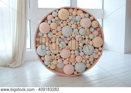 Decorated Brick Wall With Colorful Balls. Pink And Blue Bubbles Beautiful Birthday Texture. Wall Dec