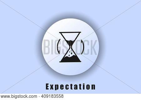 Waiting Icon, Hourglass, Waiting Time. User Interface Icon. White Neumorphic Ui Ux Web Button. Neomo