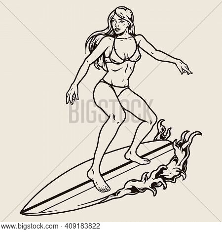 Vintage Monochrome Surfing Concept With Pretty Woman In Bikini Standing On Surfboard Isolated Vector
