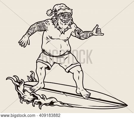 Surfing Vintage Monochrome Concept With Tattooed Santa Claus In Sunglasses And Hat Riding Wave And S