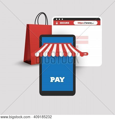 Online Shopping, Mobile Payment - Modern Style Online Business, Trading, Product Selling Design Conc