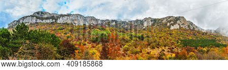 Mountains And Forests Of Crimea On An Autumn Day