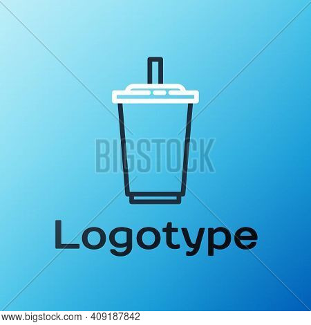Line Paper Glass With Drinking Straw And Water Icon Isolated On Blue Background. Soda Drink Glass. F