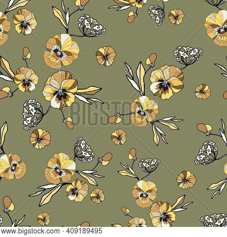 Seamless Decorative Elegant Pattern With Cute Flower Of Pansy. Amazing Seamless Floral Pattern On A
