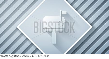 Paper Cut Mail Box Icon Isolated On Grey Background. Mailbox Icon. Mail Postbox On Pole With Flag. P