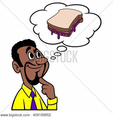 Man Thinking About A Peanut Butter And Jelly Sandwich - A Cartoon Illustration Of A Man Thinking Abo