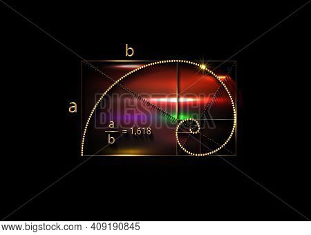 Golden Ratio. Fibonacci Sequence Number, Golden Section, Divine Proportion And Shiny Gold Spiral, Ge