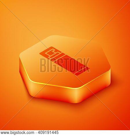 Isometric Shaving Gel Foam Icon Isolated On Orange Background. Shaving Cream. Orange Hexagon Button.