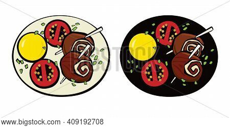 Meatloaf On A Wooden Skewer, Potato And Tomates. Pop Art. Retro Style. Vector Illustration