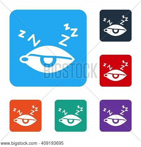 White Insomnia Icon Isolated On White Background. Sleep Disorder With Capillaries And Pupils. Fatigu