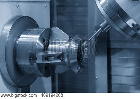 The Hi-precision 5-axis Machining Center Cutting The Metal Gear Parts. Hi-technology  Parts Manufact