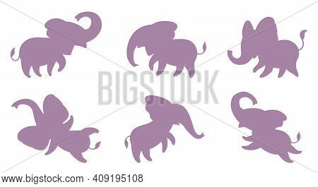 Set Of Pink Silhouettes Of Little Elephants. Cute Cartoon Elephants In Different Poses. Vector Illus