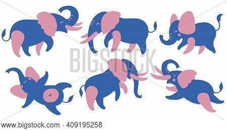 Set Of Colored Elephants. Cute Cartoon Elephants In Different Poses. Vector Illustration Isolated On