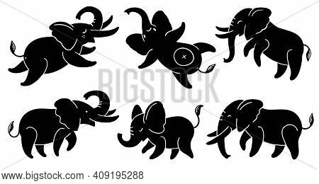 Set Of Black Silhouettes Of Elephants. Cute Cartoon Elephants In Different Poses. Vector Illustratio