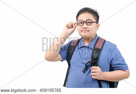 Handsome Boy Student Holding Glasses And Carrying A School Bag Isolated On White Background, Back To