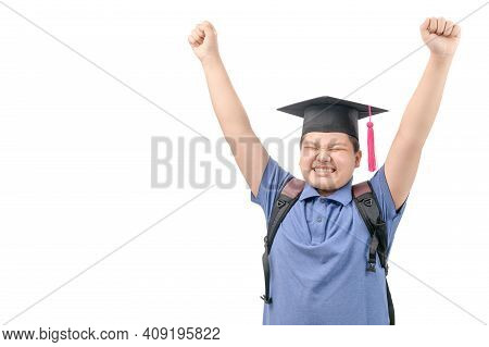 Happy Asian Student Wear Graduation Cap And Raising His Hand Isolated On White Background And  Copy