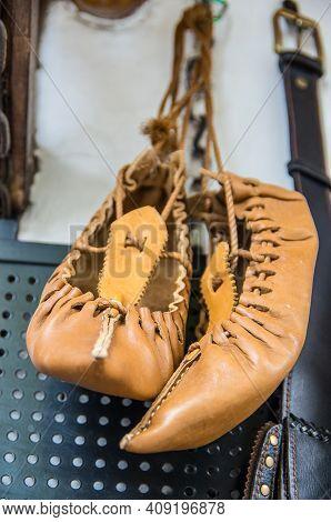 Traditional Peasant Footwear For People In The Balkan Region