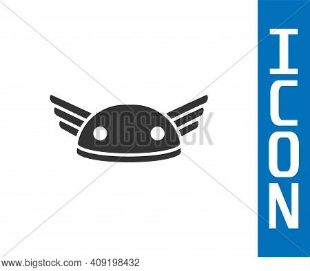 Grey Helmet With Wings Icon Isolated On White Background. Greek God Hermes. Vector